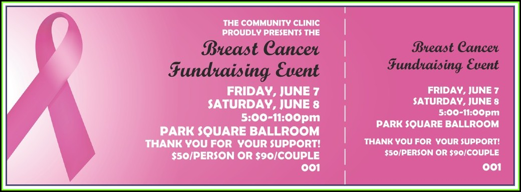 Cancer Fundraiser Ticket Template
