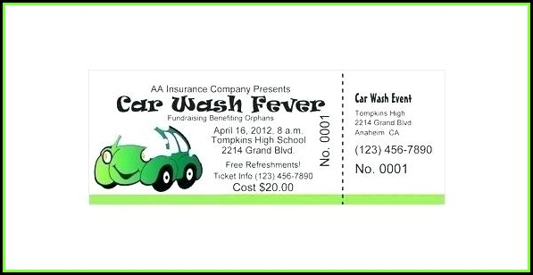 Car Wash Fundraiser Tickets Template Free