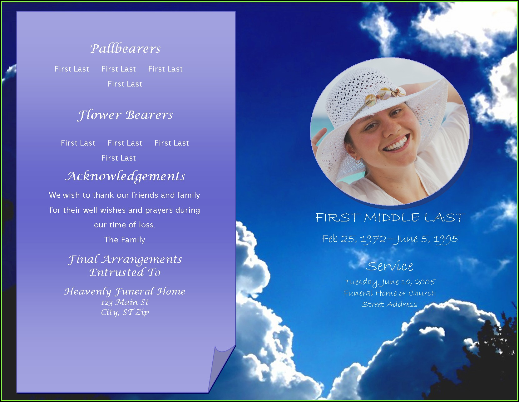 Celebration Of Life Template For Word