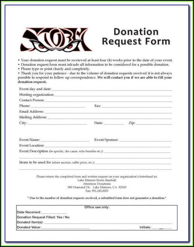 Charitable Donation Form Letter