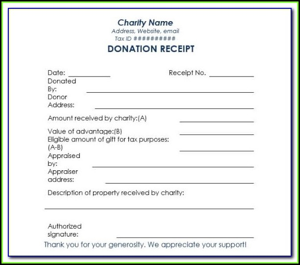 Charitable Donation Form Receipt