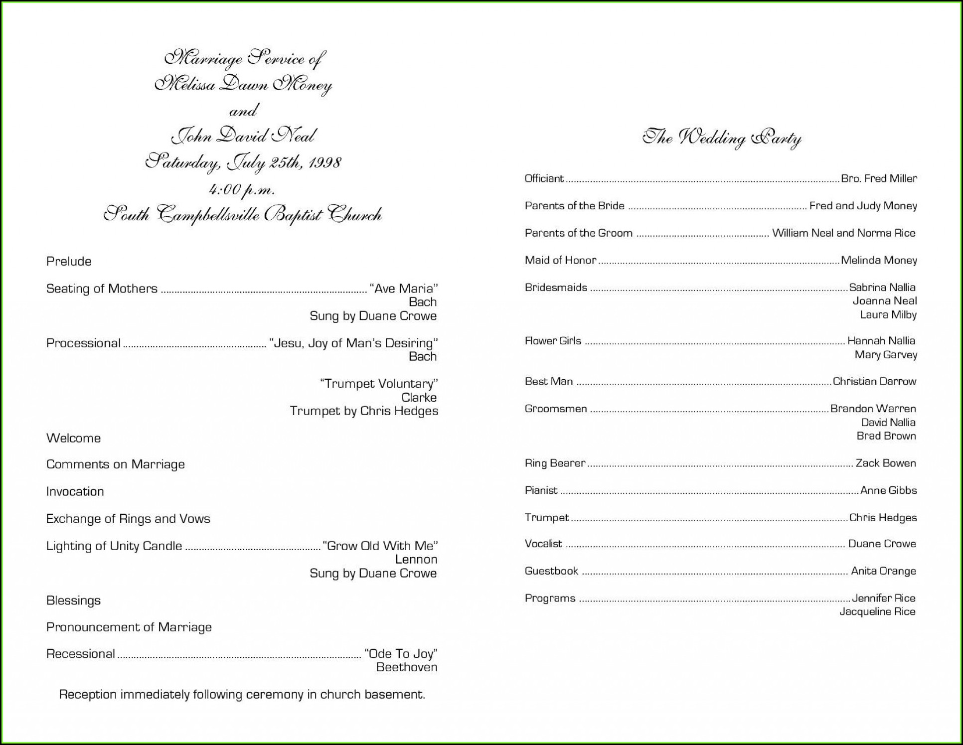 Christian Church Wedding Program Template