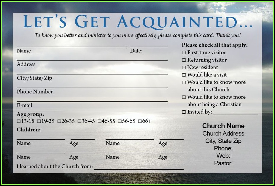 Church Visitor Welcome Card Template