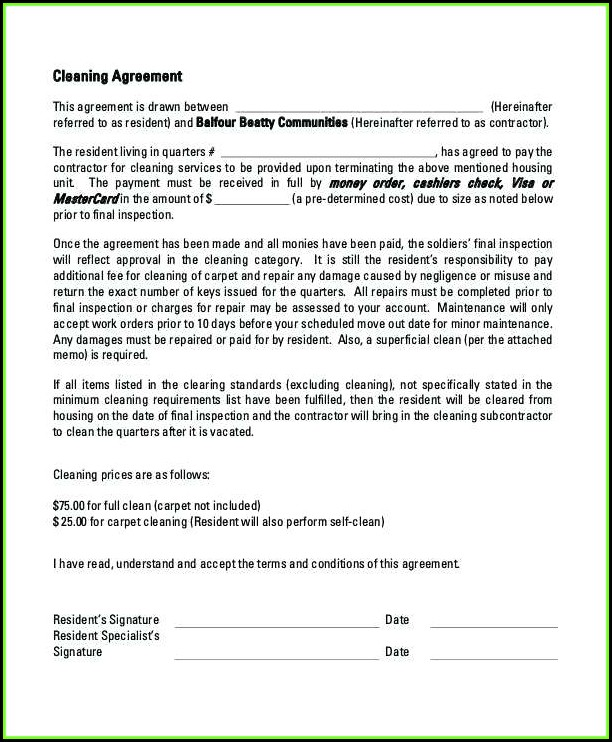 Cleaners Contract Template