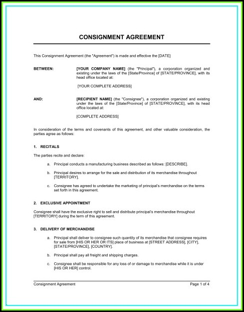 Consignment Agreement Template Australia