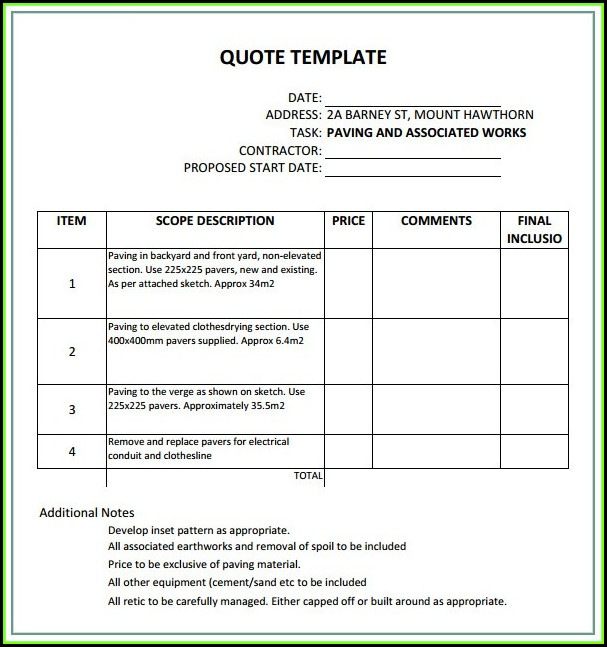 Construction Quote Template Nz