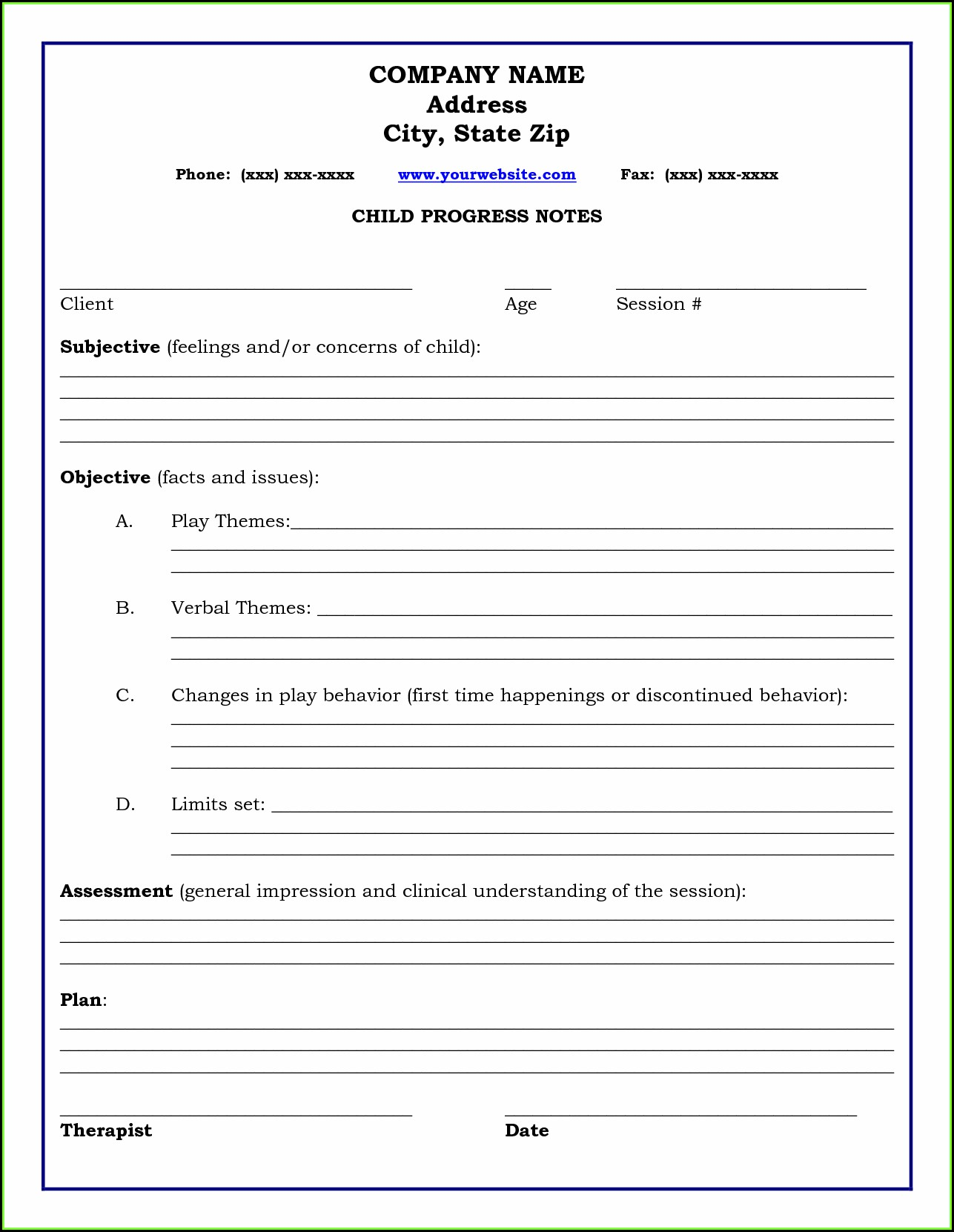 Counseling Progress Notes Template Pdf