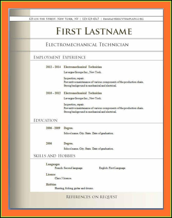 Curriculum Vitae Template Free Download Pdf