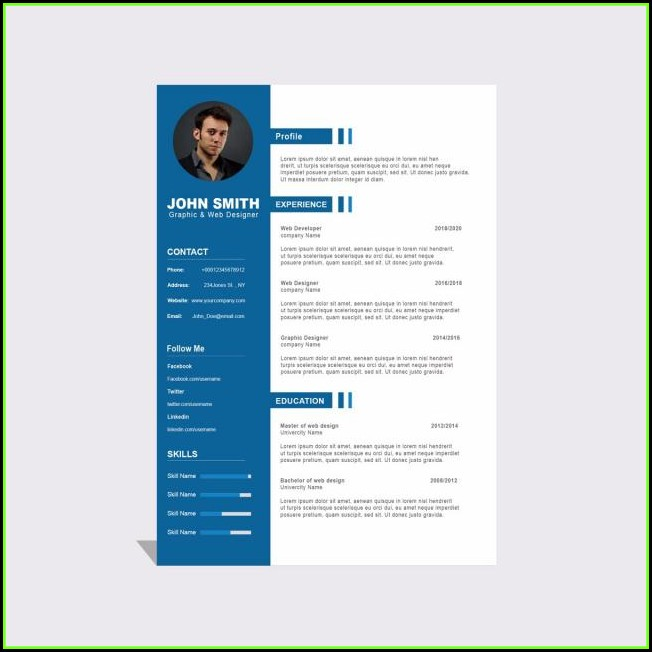 Curriculum Vitae Template Free Download Psd