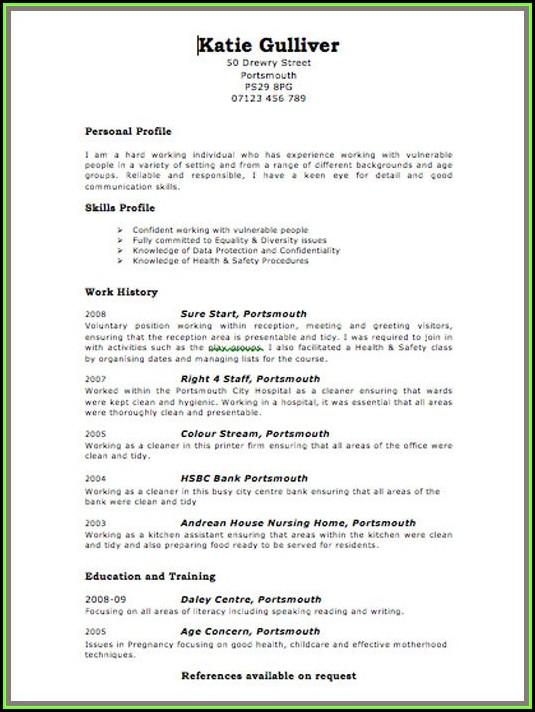Curriculum Vitae Template Free Online