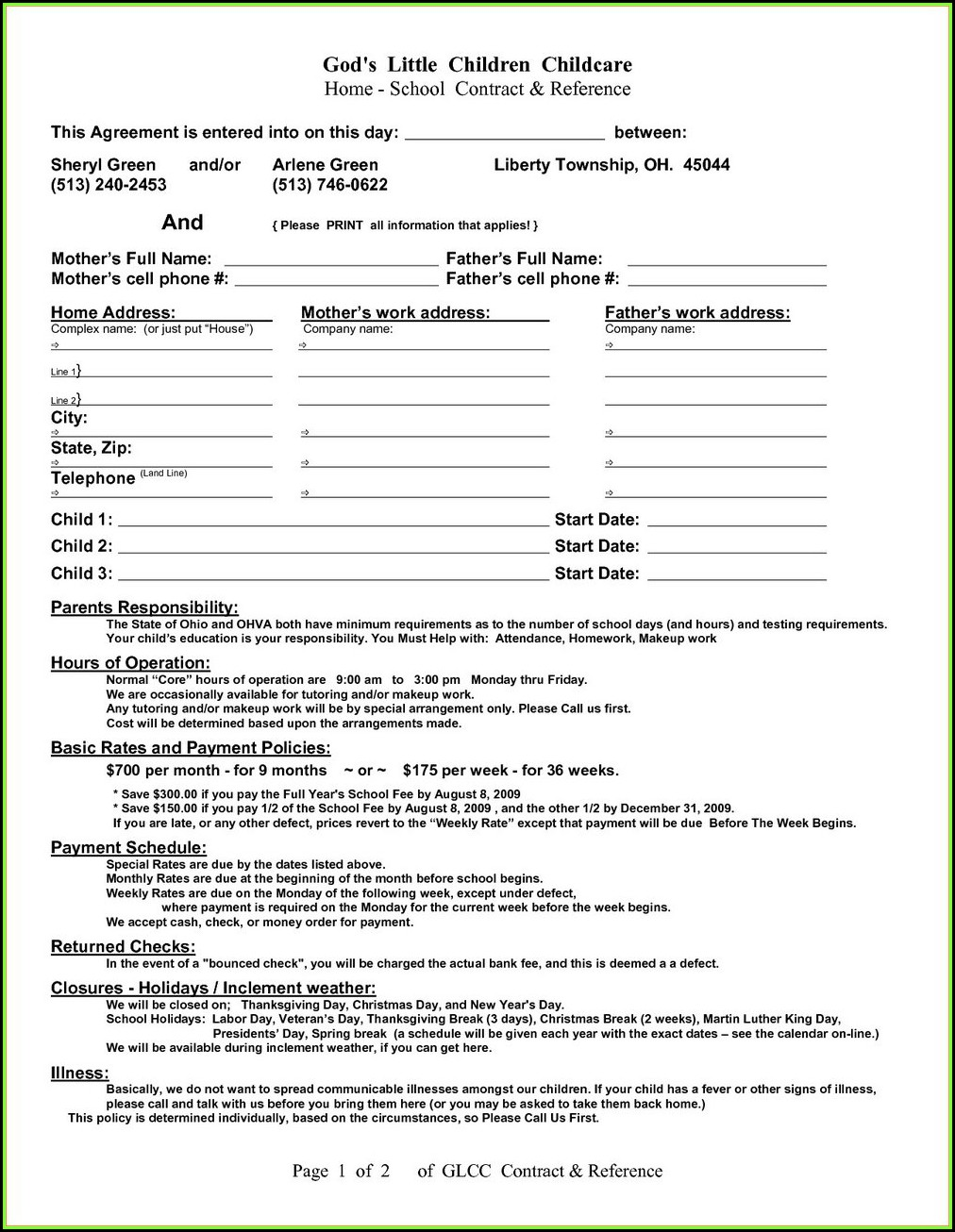 Daycare Contract Template Canada
