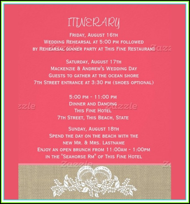 Destination Wedding Day Itinerary Template
