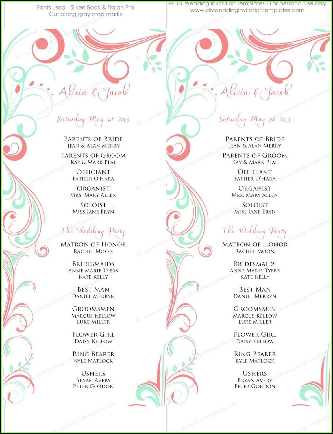 Diy Scroll Wedding Program Templates