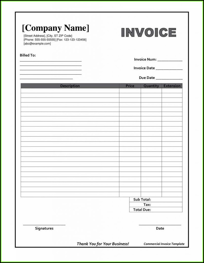 Downloadable Invoice Template Word