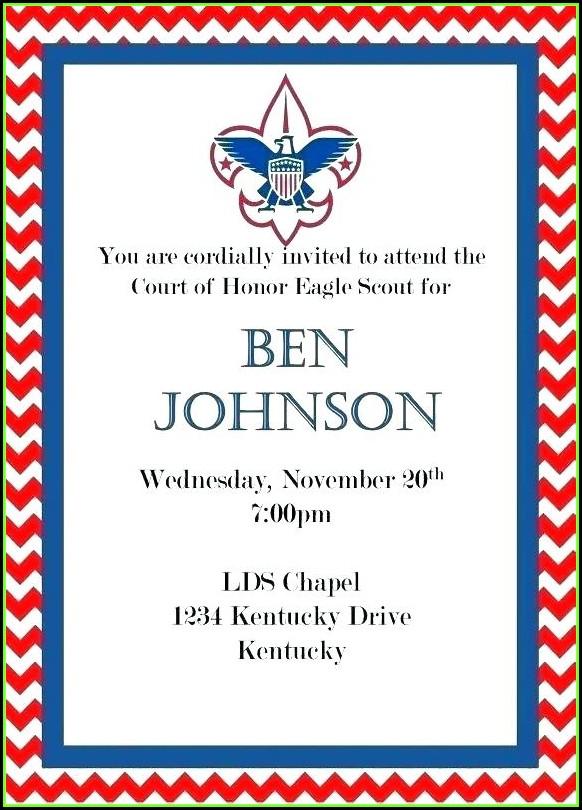 Eagle Scout Coh Invitation Template