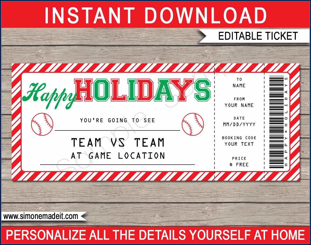 Fake Baseball Ticket Template
