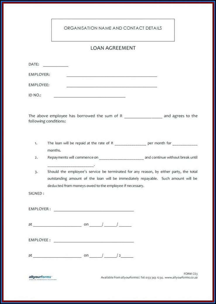 Family Loan Agreement Template Canada