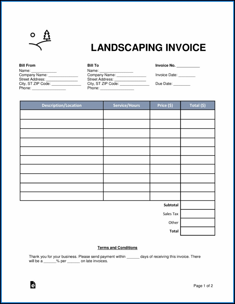 Fillable Landscaping Invoice Template