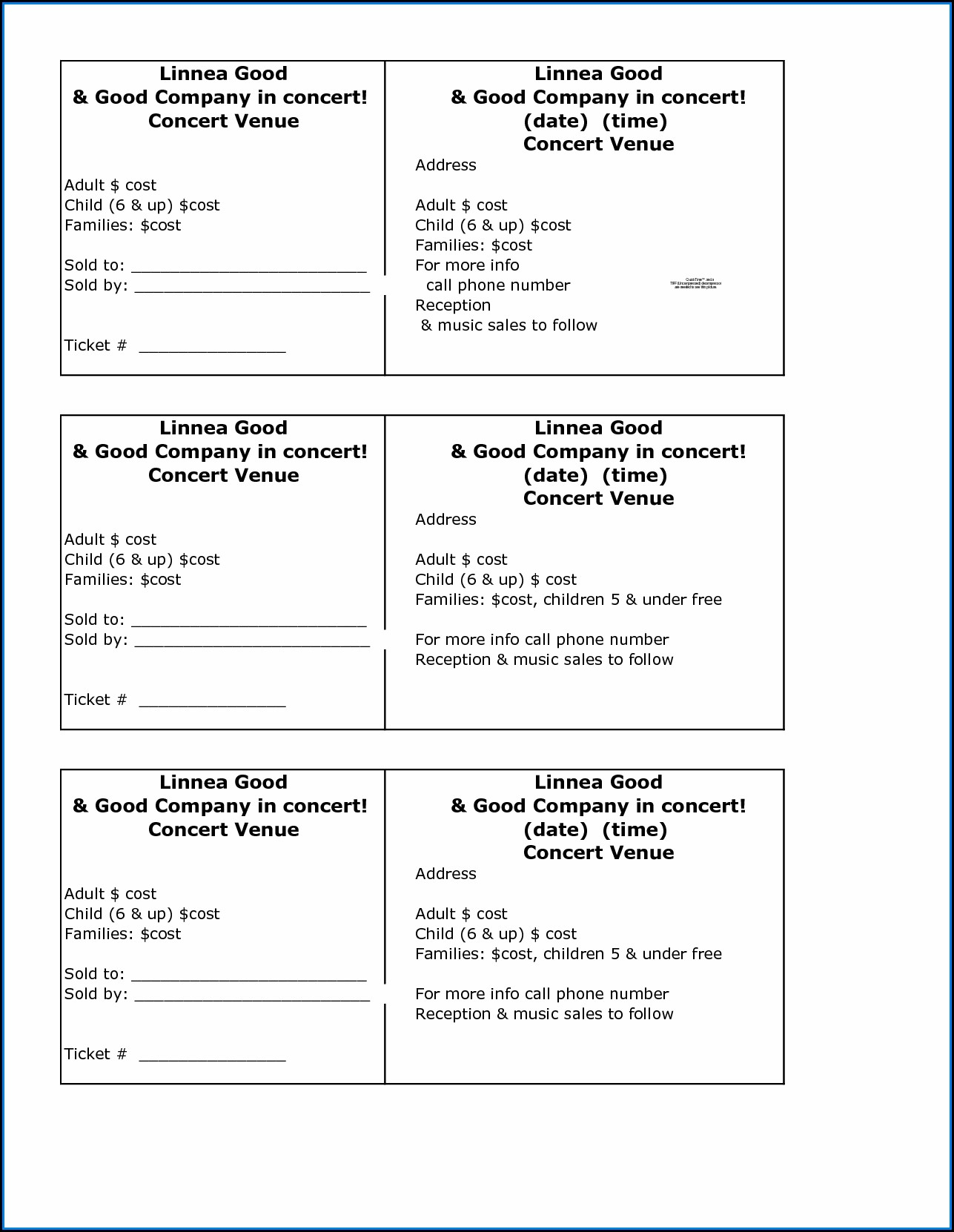 Food Fundraiser Ticket Template