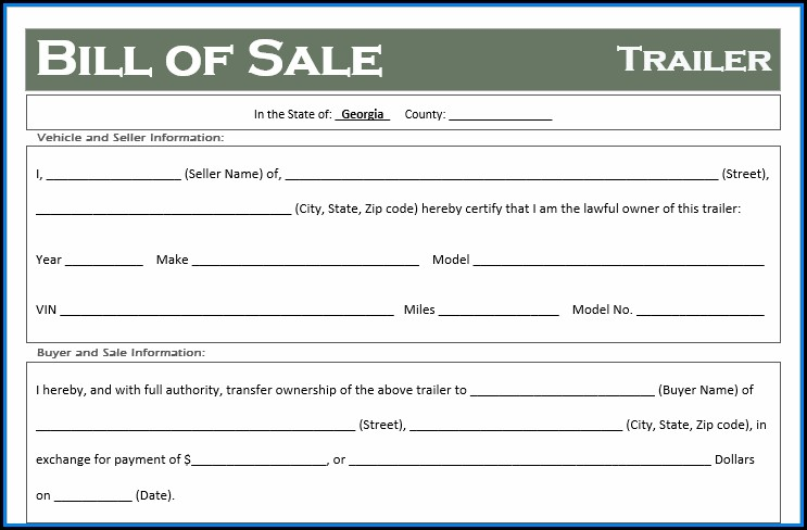 Free Bill Of Sale Template Georgia