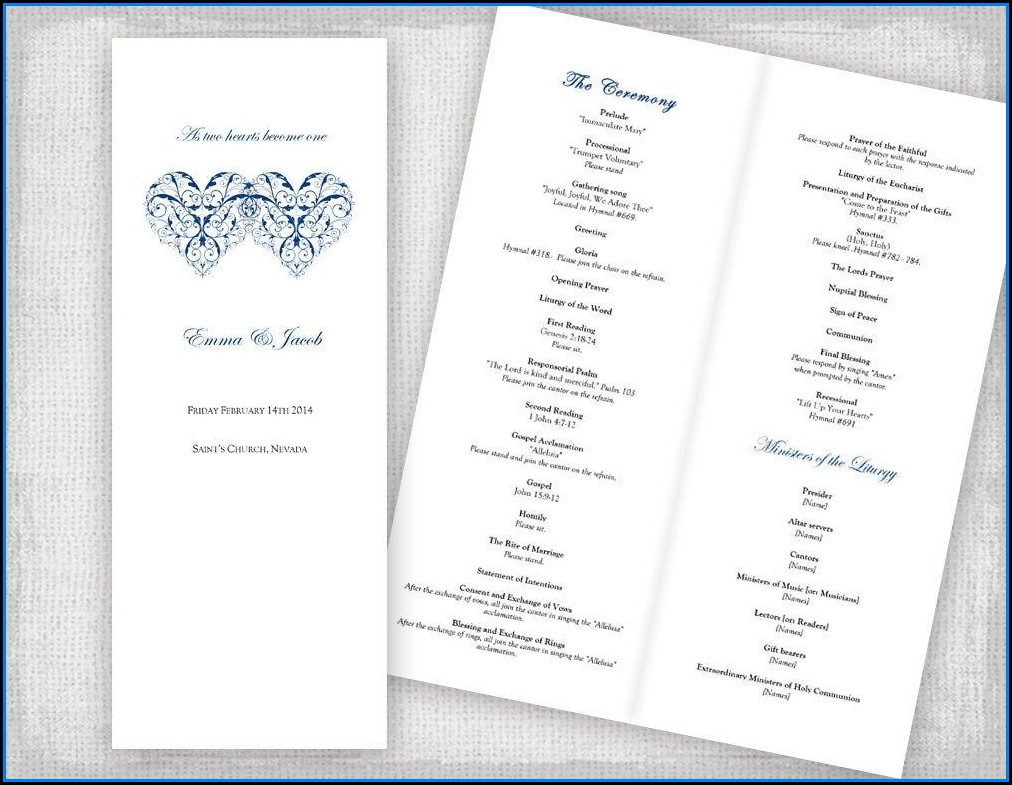 Free Catholic Wedding Program Templates For Microsoft Word