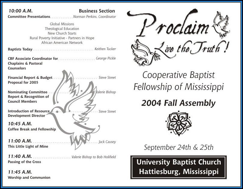 Free Church Program Template
