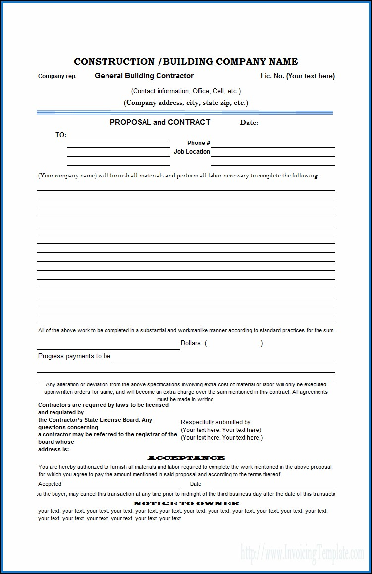 Free Construction Contract Template Downloads