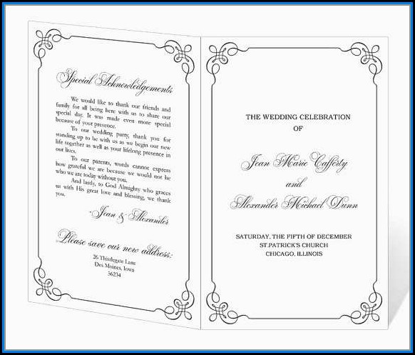 Free Downloadable Wedding Program Templates Word