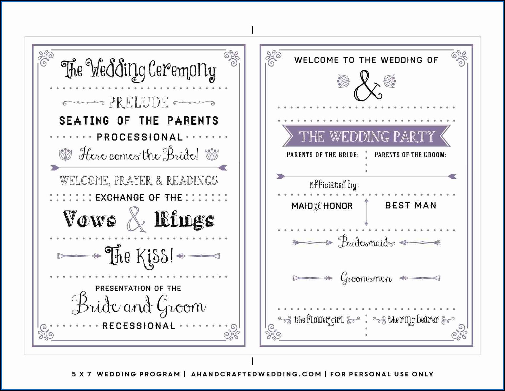 Free Downloadable Wedding Program Templates