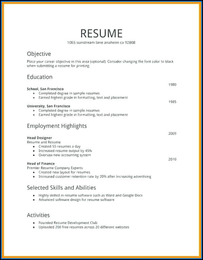 Free First Job Resume Templates