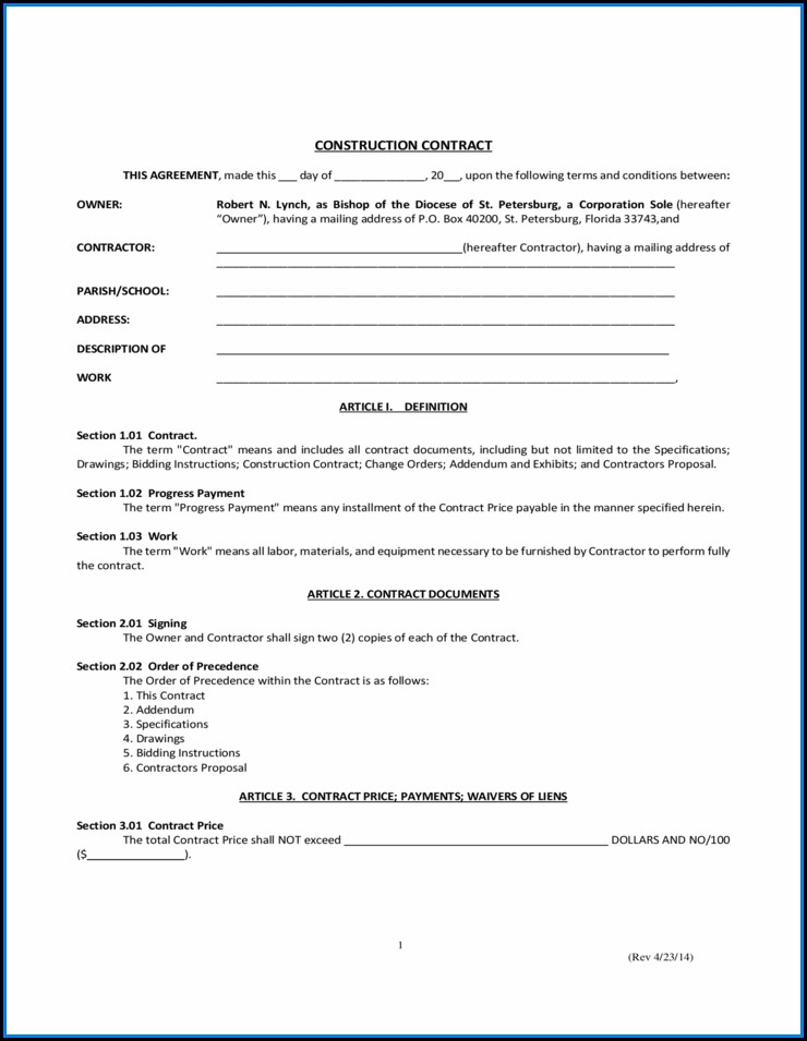 Free Florida Construction Contract Template