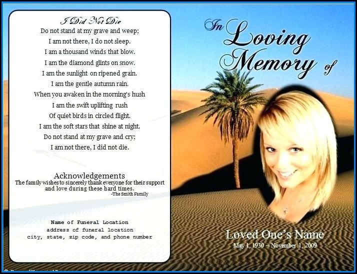 Free Funeral Announcement Flyer Template
