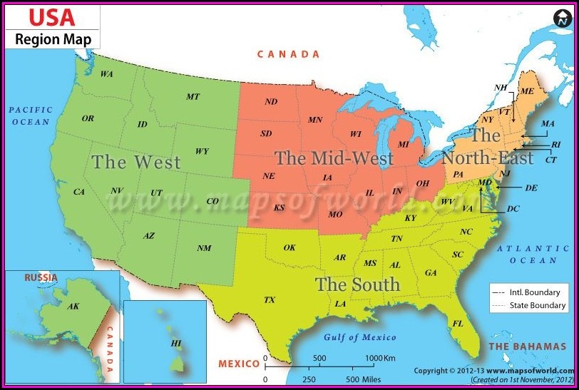 Geographic Map Of The United States Of America