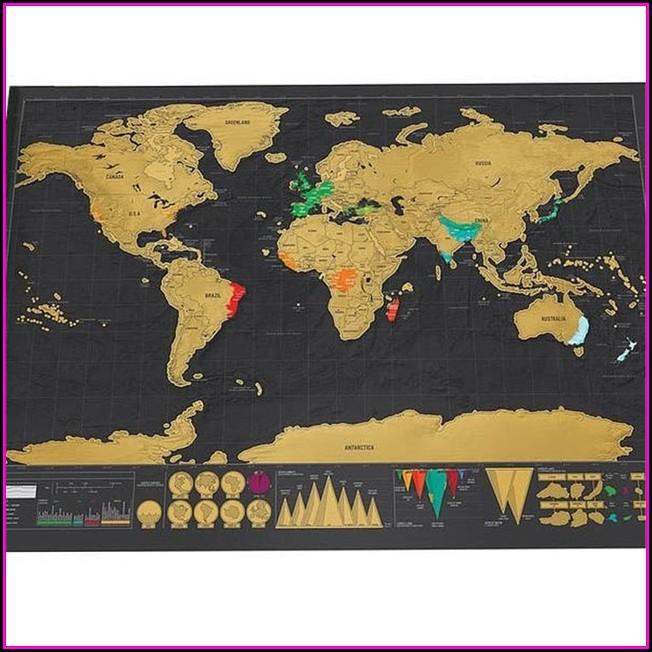 Gold Foil Scratch Off Map