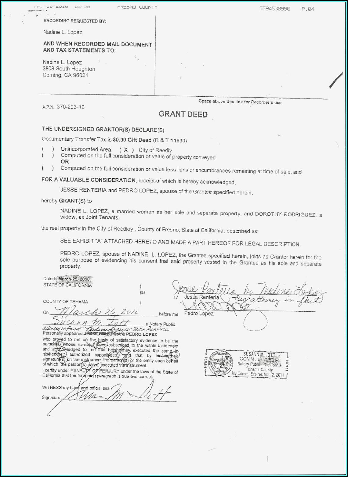 Grant Deed Sample California