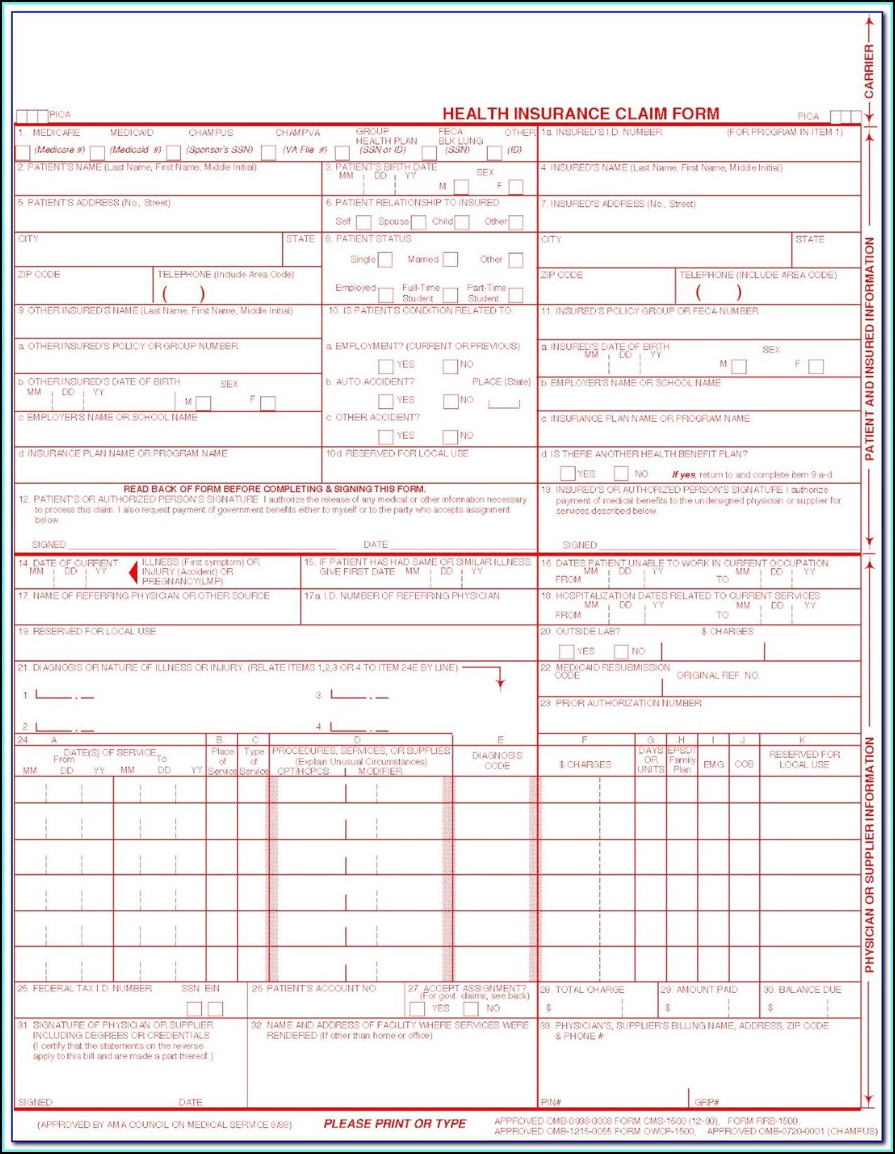 Hcfa 1500 Form 2017 Pdf Free