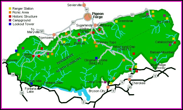 Hiking Map Great Smoky Mountains National Park