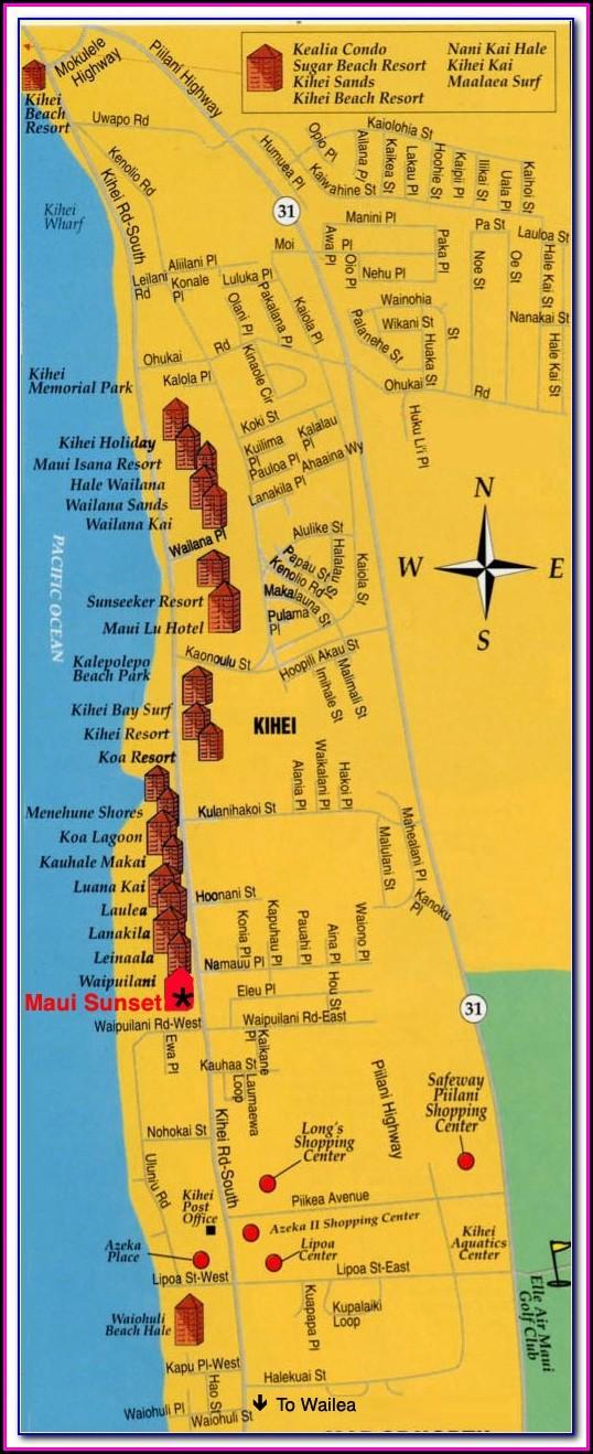 Kihei Accommodation Map