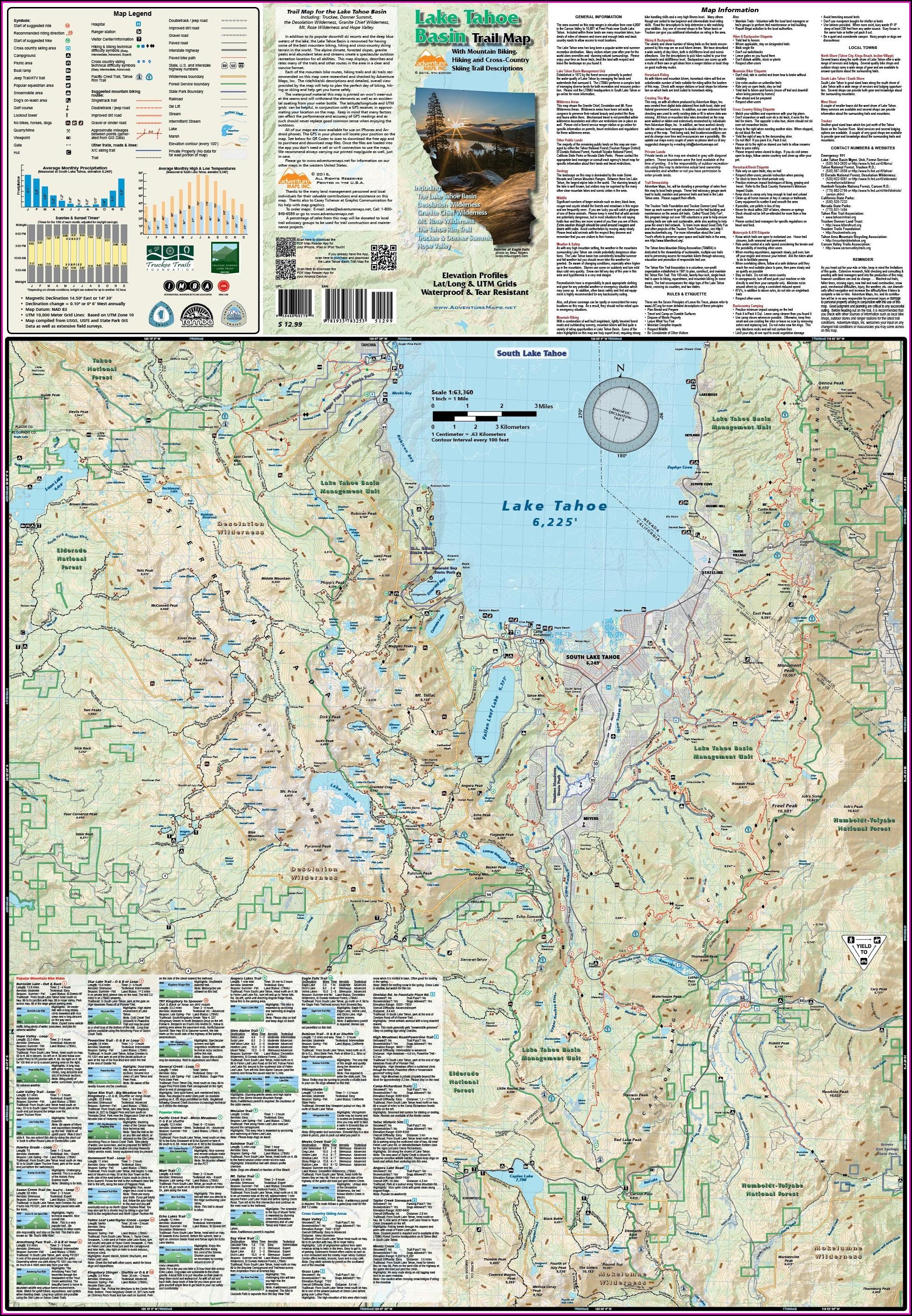 Lake Tahoe Hiking Map