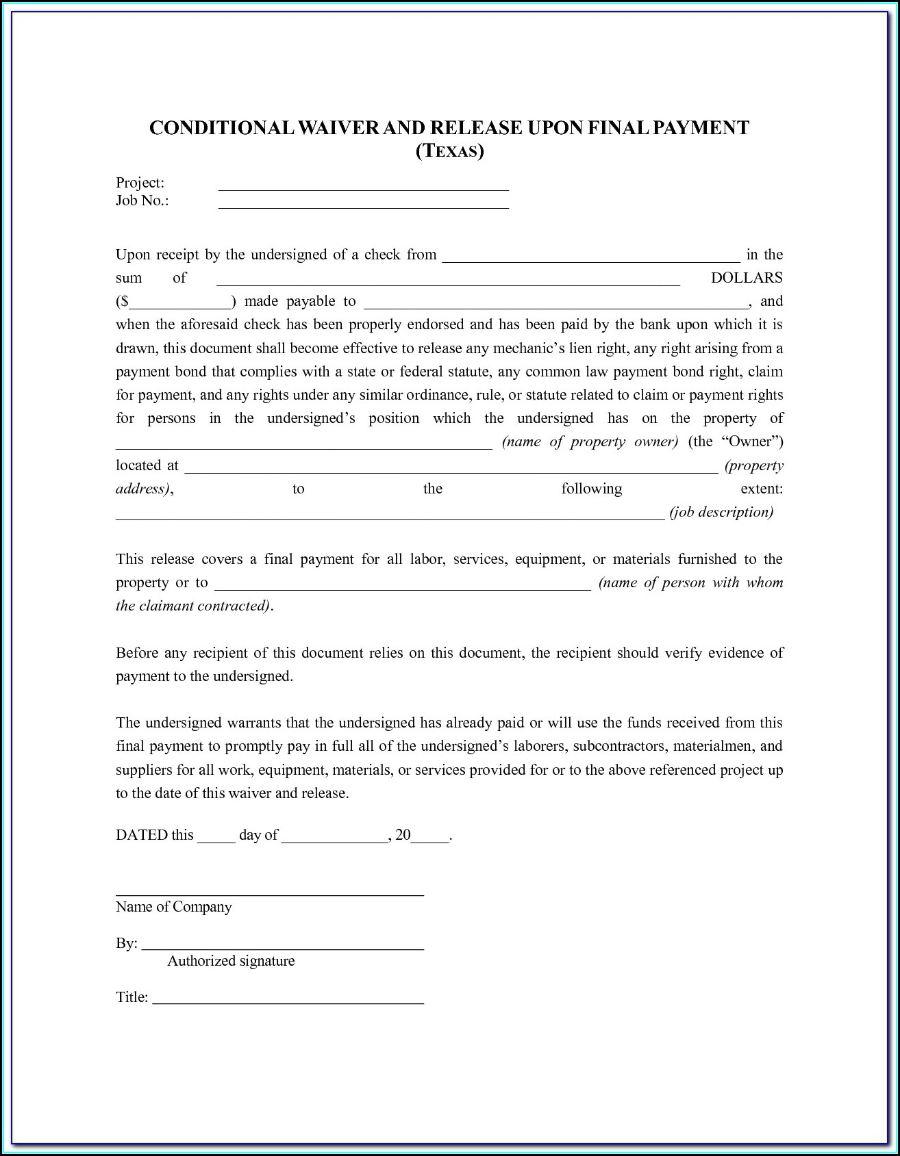 Lien Waiver Form Texas