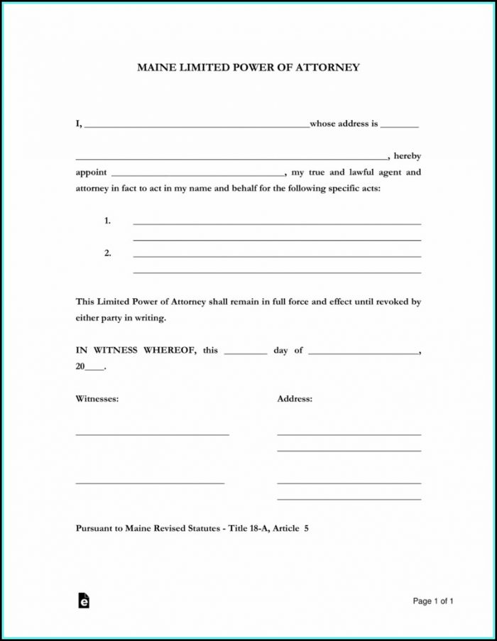 Limited Power Of Attorney Form Maine
