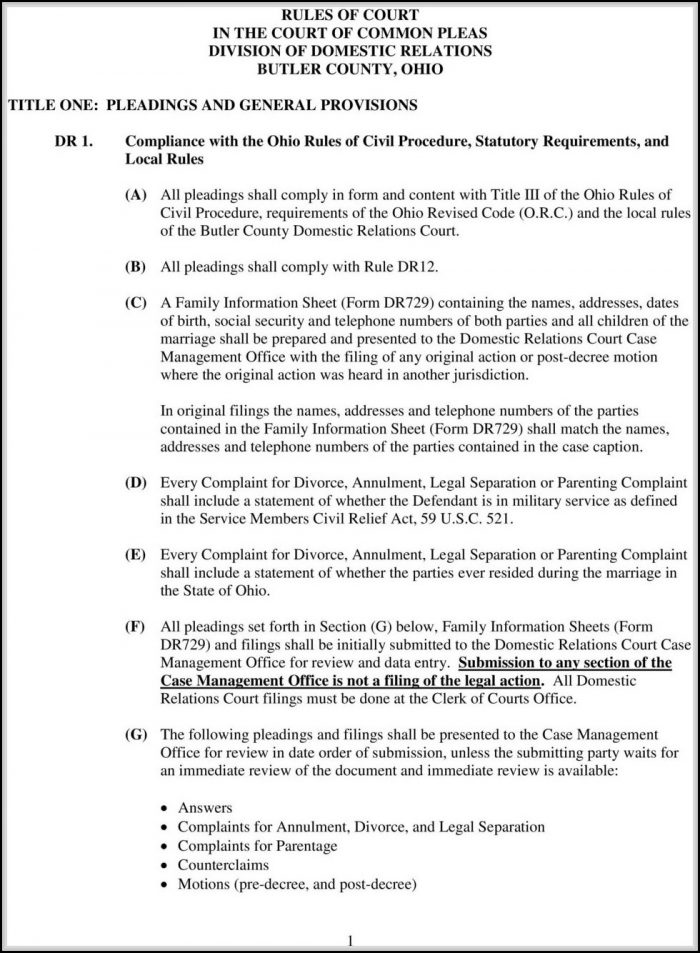 Lorain County Ohio Dissolution Of Marriage Forms