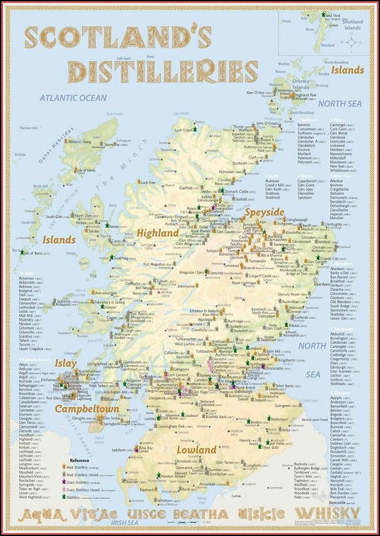 Malt Whisky Distilleries Scotland Map