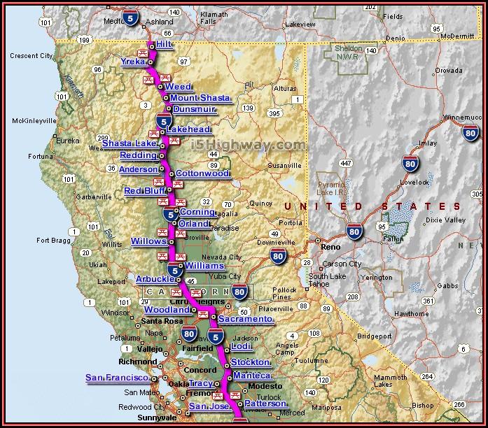 Map Of California Interstate 5