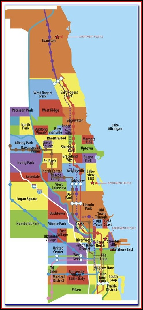 Map Of Chicago Neighborhoods Poster