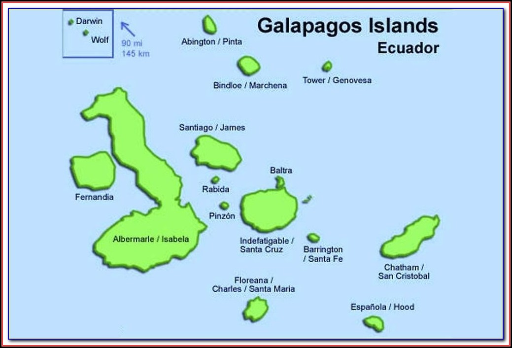 Map Of Galapagos Islands And Ekuador