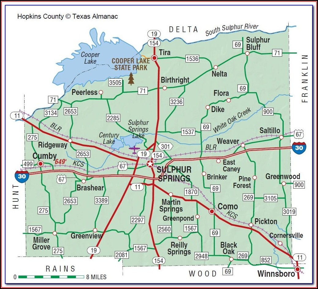 Map Of Hopkins County Texas