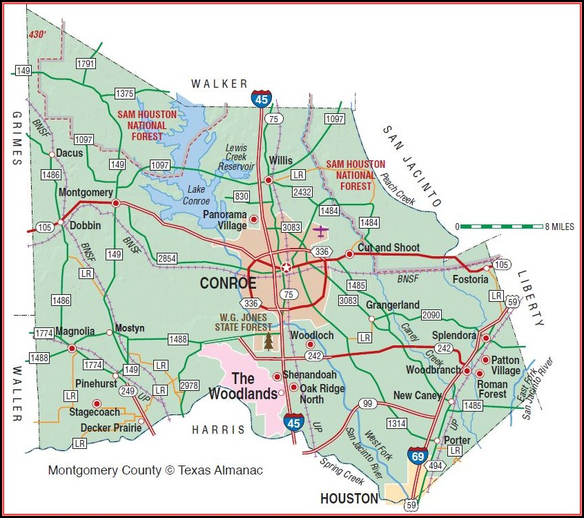 Map Of Montgomery County Texas