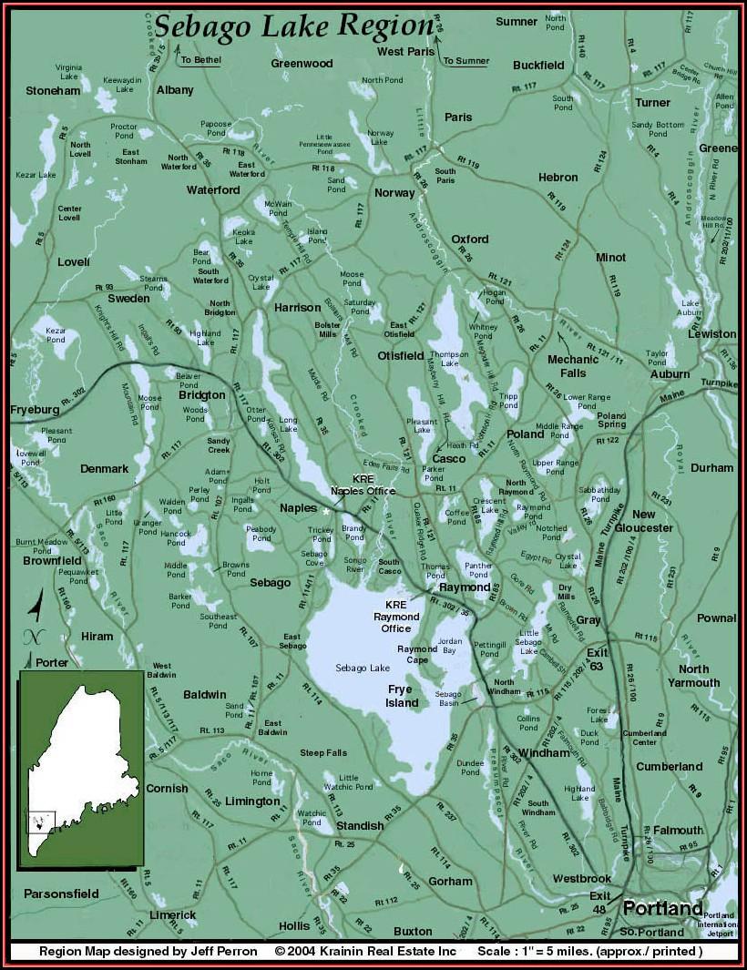 Map Of Sebago Lake Maine
