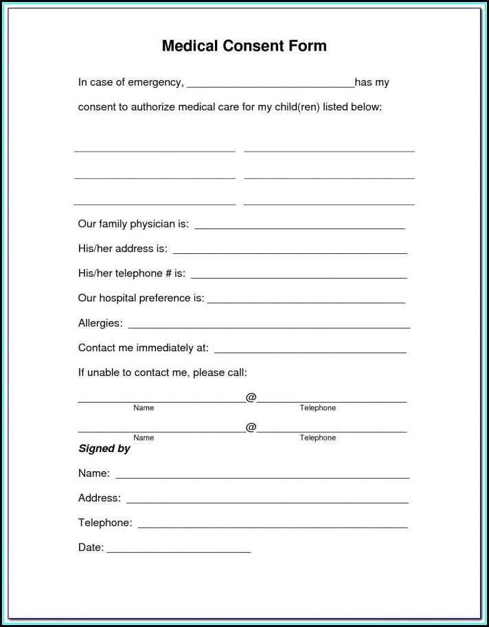 Medical Consent Form For Child On Vacation